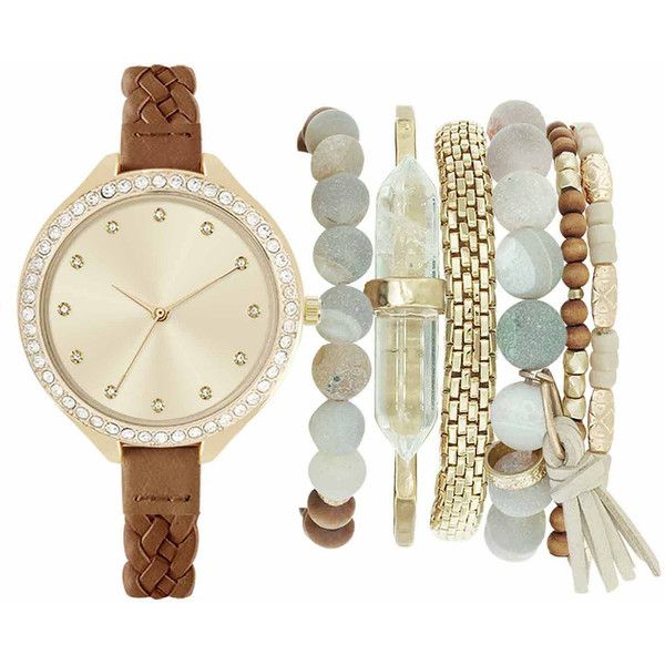 Mixit Womens Brown 7-pc. Watch Boxed Set-Jc2143g569-044 - Size One... ($27) ❤ liked on Polyvore featuring jewelry, watches, mixit, brown watches, mixit jewelry, brown wrist watch and brown jewelry