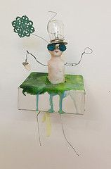 'Waving not drowning' - found objects and encaustic wax