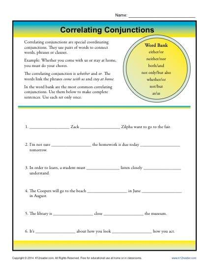 Correlative Conjunctions Worksheet With Images