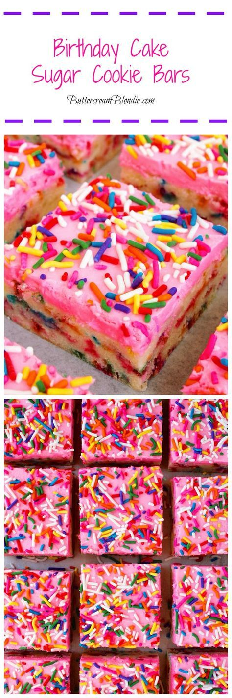 Birthday Cake Sugar Cookie Bars - Super easy sugar cookie bars are loaded with rainbow sprinkles and topped with vanilla buttercream! | ButtercreamBlondie.com #Birthdaycookies