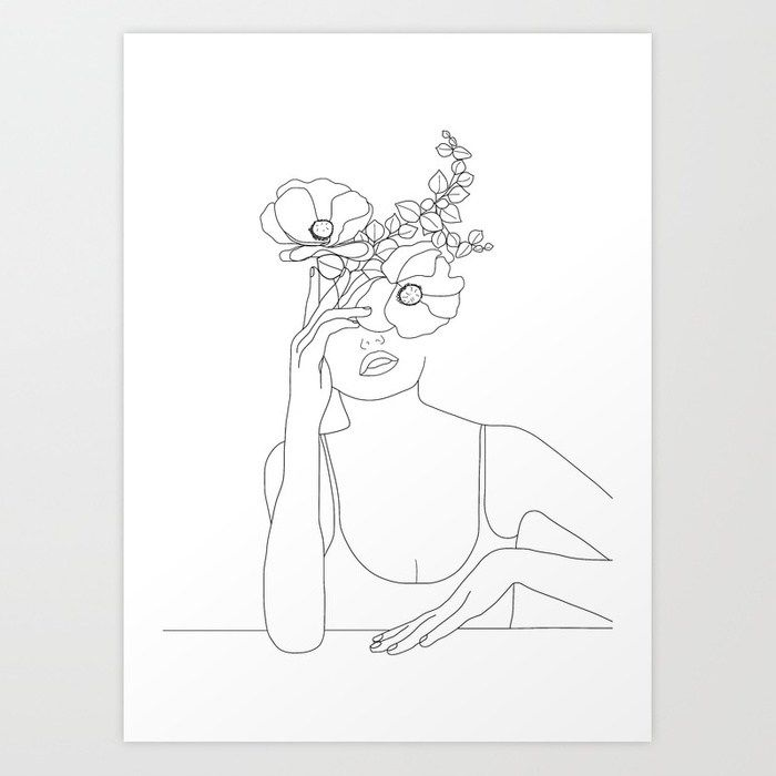 Minimal Line Art Woman With Flowers Ii Art Print By Nadja1 Society6 Line Art Drawings Art Drawings Minimal Art Painting