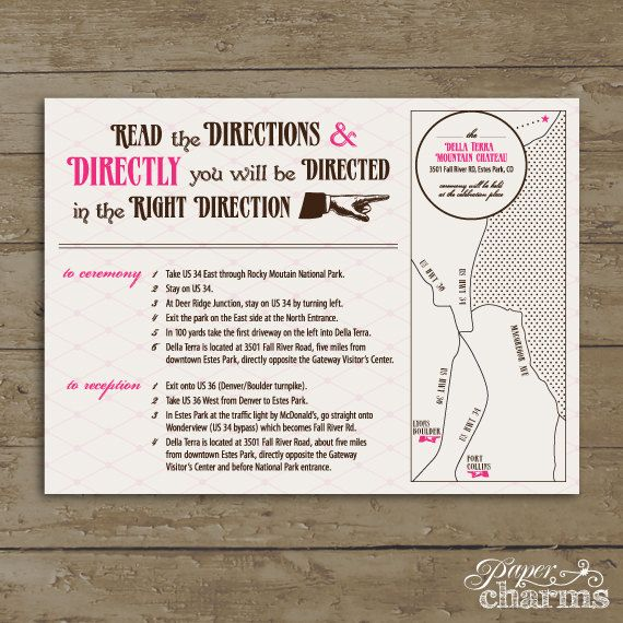 Direction Card Wording