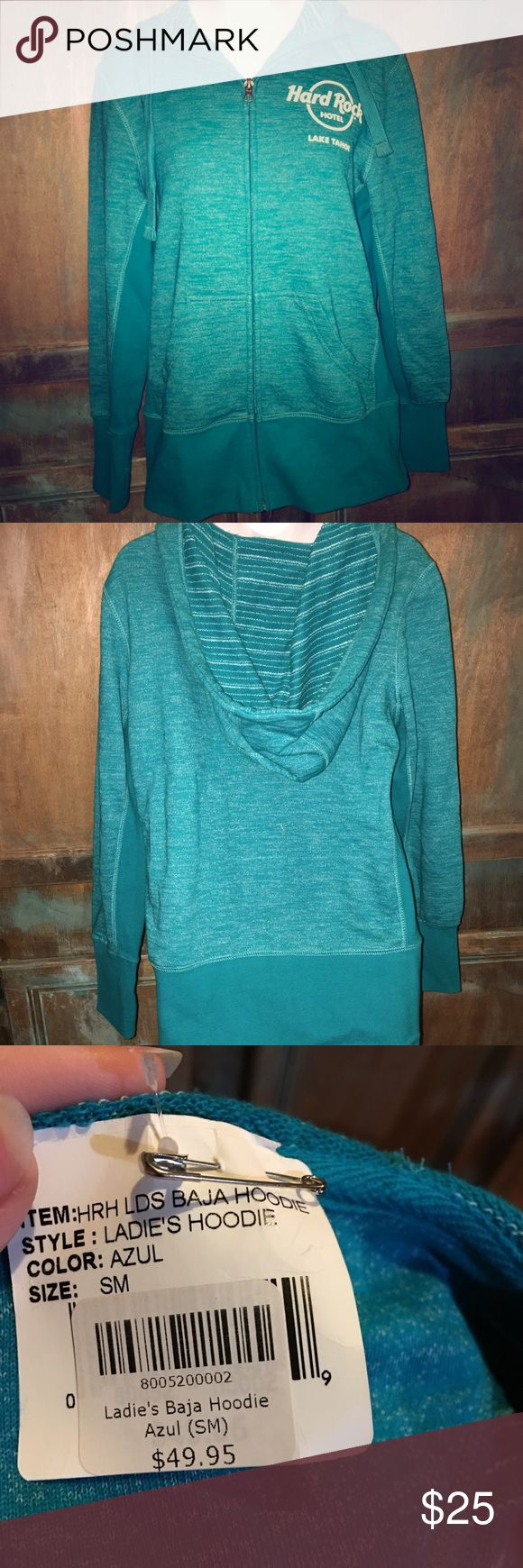 NWT Hard Rock Hotel Hoodie Brand new with tags hoodie! Hard Rock Hotel Lake Tahoe, super cozy and good for this fall or winter, big over sized hood with draw strings, zipper in the front, nice teal/emerald color, no holes or damages! Hard Rock Jackets & Coats