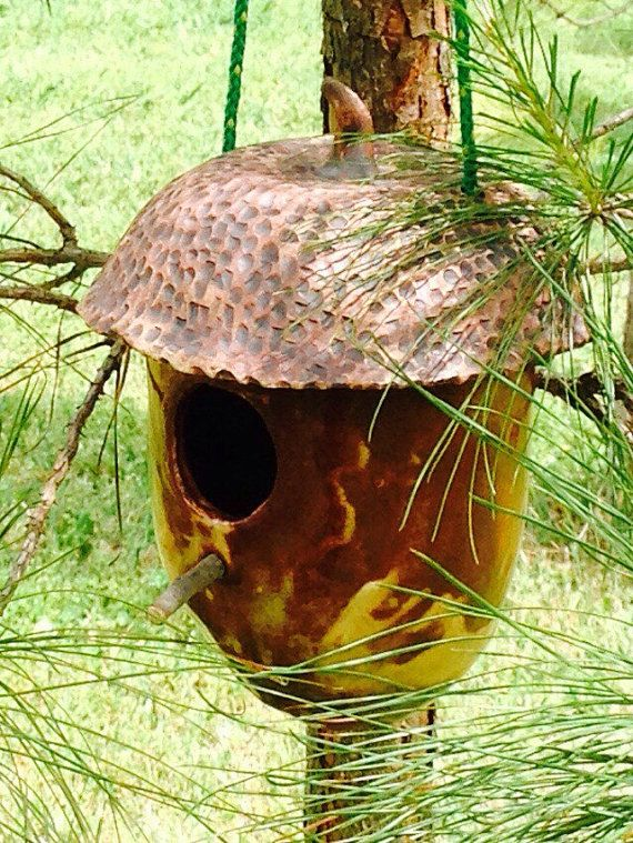 Hand Built Pottery Acorn Hanging Birdhouse with by OneGreenAcre
