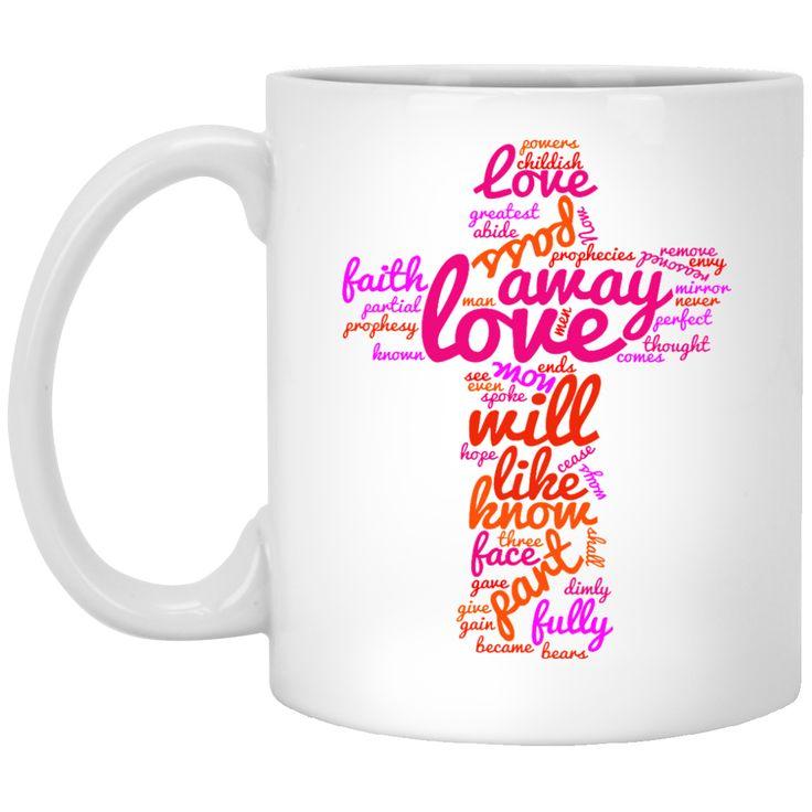 1 CORINTHIANS 13 WORDCLOUD CROSS BY1011 XP8434 11 oz. White Mug