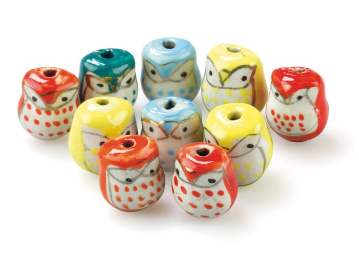 Ceramic Owl Beads: http://www.cooksongold.com/Beads/Ceramic-Owls-23x36x5mm-Hand------Painted-Pack-of-10-prcode-67SY-CE02