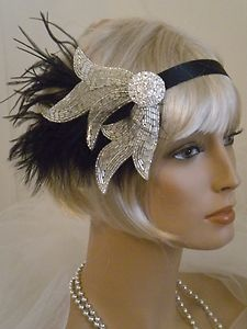 1920's Headpiece Flapper Headband Art Deco Black Silver Feathers 3 | eBay