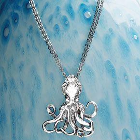 Vintage Silver Octopus Necklace