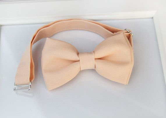 Light Peach bow-tie  Adjustable neck-strap  Peach by bananaribbon