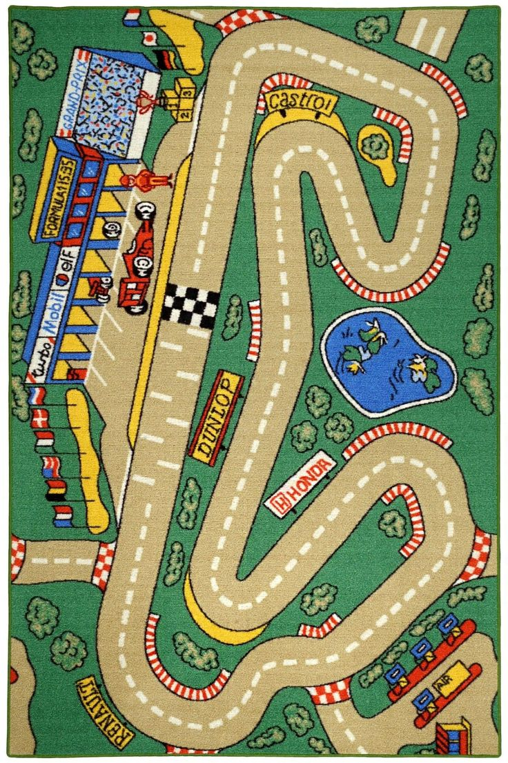 Bambino Kids Fun Time City Race Track Cars Green Area Rug