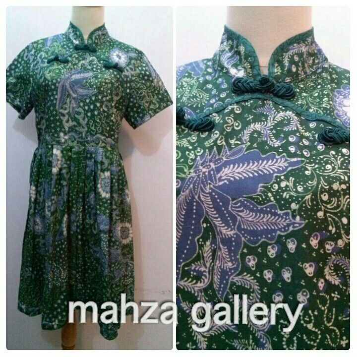 Cheongsam dress in batik tulis lasem