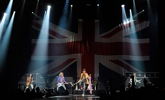 Guitarist Vivian Campbell, bassist Rick Savage, singer Joe Elliott and Phil Collen of Def Leppard performs on the opening night of 'VIVA Hysteria!,' the band's 11-show residency, at The Joint inside the Hard Rock Hotel & Casino on March 22, 2013 in Las Vegas, Nevada.