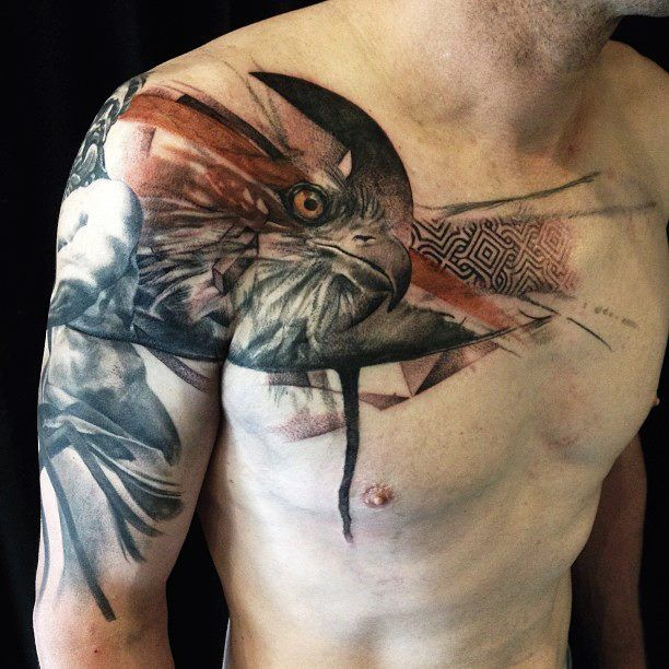 23 best images about tattoo on pinterest tat black bird for Chest mural tattoos