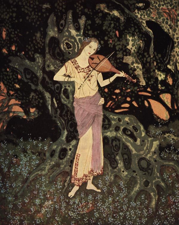 Edmund Dulac, And there, leaning against a moss-grown crumbling tree,   was a spirit-like being out of another world   - The Dreamer of Dreams by the Queen of Roumania