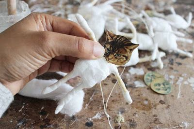 Fil À Sophie sneek peak in my atelier on my craft desk working on a whimsical antique inspired spun cotton cat ornament