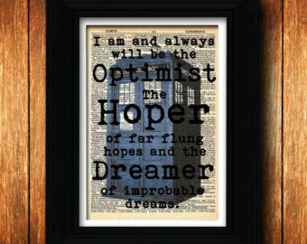 Dr. Who Tardis art print - Optimist Dreamer Hoper - doctor who, geek art, Doctor Who tardis art print, Dr Who art poster, Dr who tardis art