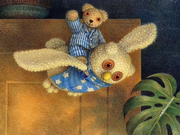 Jane Hissey : Hoot, Lovely Stuffed Animals  - Old Bear and Hoot the Owl  - Heartwarming illustrations of Stuffed Animals  2