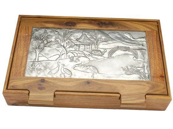 Desk Tidy Jewellery box Trinket Box Storage Box Kiaat by Loutul