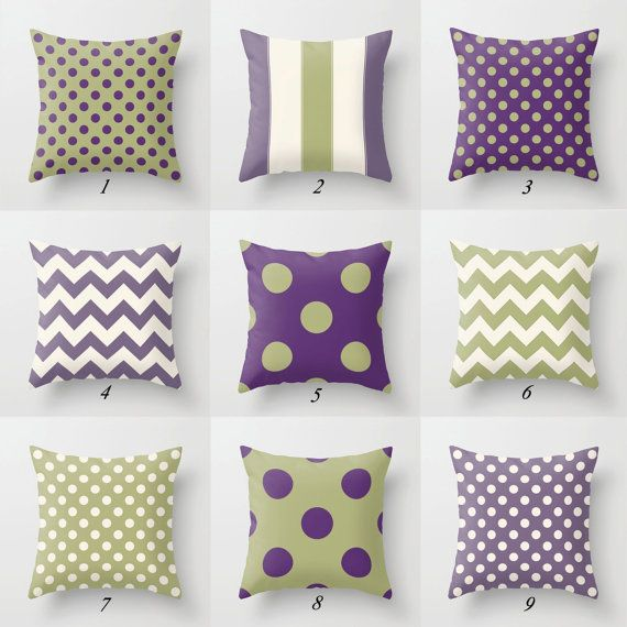 Sage Green Pillows Purple Throw Pillows by DesignbyJuliaBars