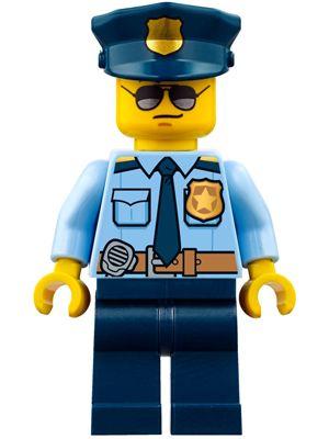 cty778: Police - City Officer Shirt with Dark Blue Tie and Gold Badge, Dark Tan Belt with Radio, Dark Blue Legs, Police Hat with Gold Badge, Sunglasses