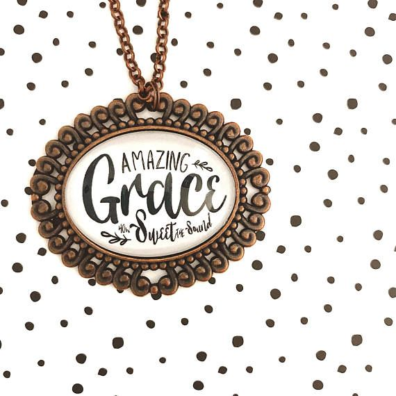 Ornate Amazing Grace Inspirational Pendant Tray necklace