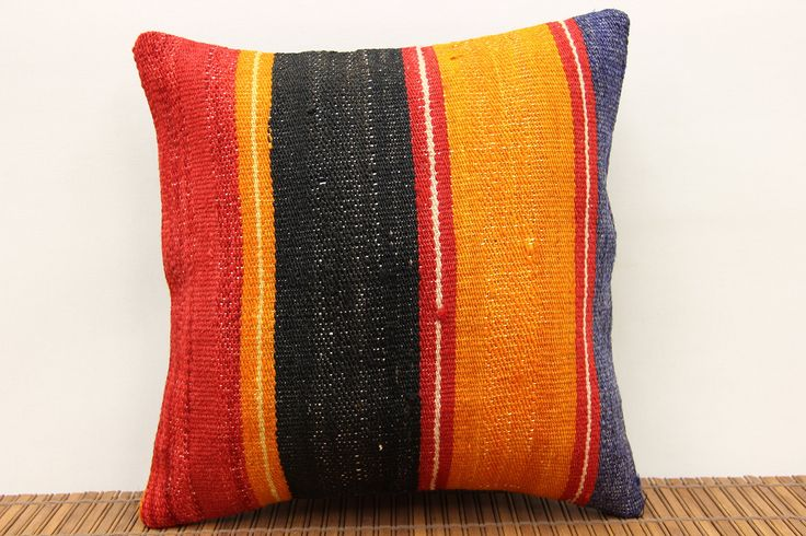 Accent kilim pillow cover 12x12 inch (30x30 cm) Boho Kilim pillow cover Home Decor Traditional Pillow cover Decorative Kilim Cushion Cover. Turkish handmade Oriental kilim pillow cover By Kilimwarehouse Size: 12x12 Inches / 30x30 Cm Front side: Vintage Handmade kilim rug, material wool & cotton. Back side: Cotton fabric and hidden zipper. Pillow insert is not included. Only Dry clean. Please note that colors may vary slightly on different computer monitors. Shipment: Fedex worldwide...