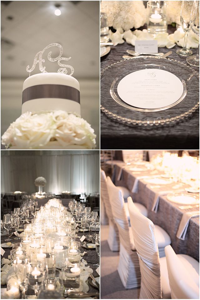 white and silver wedding reception, clear glass chargers, floating tea candles, low center pieces, banquet tables copyright @Kristin Vining Photography Charlotte, NC Wedding Photographer