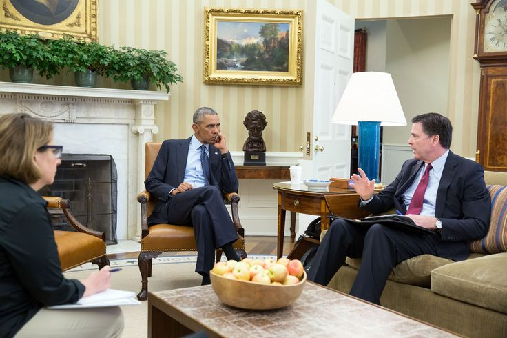 https://flic.kr/p/HaAt5V | P061216PS-0013 | President Barack Obama receives an update in the Oval Office from FBI Director James Comey and Homeland Security Advisor Lisa Monaco on the mass shooting in Orlando, Fla., June 12, 2016. Also attending the meeting were Chief of Staff Denis McDonough, National Security Advisor Susan E. Rice and Deputy National Security Advisor Ben Rhodes.  (Official White House Photo by Pete Souza)  This official White House photograph is being made available only…