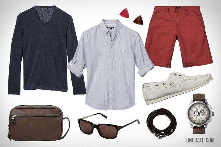 John Varvatos Oxford Peace Sign Button Up Shirt ($98). John Varvatos Twill Shorts ($98). John Varvatos Schooner Boat Shoe ($198). John Varvatos Long Sleeve Linen V-Neck ($198). John Varvatos Wayfarer Sunglasses ($220). Ernst Benz Limited Edition Watch ($6,800). John Varvatos Leather Toiletry Kit ($325). Guitar Picks ($9)