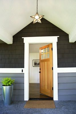 4-color exterior paint | Charcoal brown wood base or wood trim, medium gray base, white trim, door in a pop of color like red, yellow or natural finish.