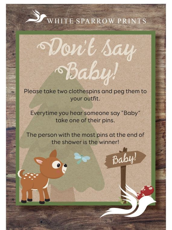 Woodland Baby Shower Game. DON'T SAY BABY. by WhiteSparrowPrints
