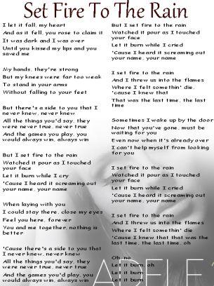 Adele Set Fire To The Rain Lyrics Sheet