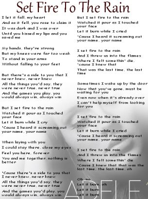 Adele Set Fire To The Rain Lyrics Sheet