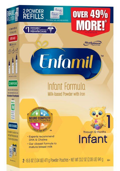 Enfamil  Infant Baby Formula - 33.2 oz Refill Box Enfamil Infant infant formula is tailored to meet the nutritional needs of babies aged 0 through 12 months. It is a Neuro CompleteTM formula that has important nutrients, such as brain-nourishing choline, iron and DHA. Enfamil Infant also has a dual prebiotics blend designed to help support a baby's own natural defenses. Enfamil Infant is our closest-ever formula to mature breast milk. Enfamil is the #1 infant formula brand