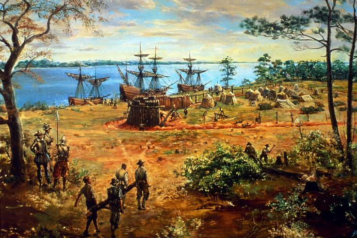 The first English settlements arrive in Jamestown, Virginia in 1607. The settler came because of political or religious reasons or because they were interested in the new country. They wanted to go on an adventure.
