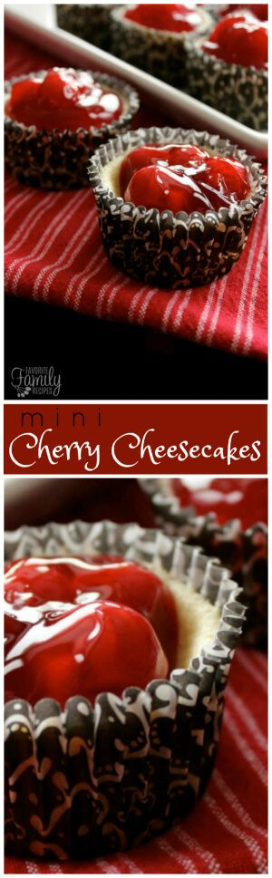 Mini Cherry Cheesecakes are a quick and easy to make dessert.  The perfect yummy treat for Valentines Day and special occasions.  via @favfamilyrecipz