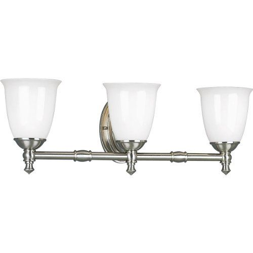Progress Lighting P3029-09 3-Light Bath Bracket with White Opal Glass, Brushed Nickel by Progress Lighting. Save 31 Off!. $135.18. Amazon.com                      Product Description                 Make a distinctive statement in bath and vanity areas reminiscent of another era. Progress Lighting's Victorian collection offers complementary fixtures to illuminate and beautify the most personal areas of your home.   Timeless Design for Any Bath Setting    Victorian bath and vanity fixtures...