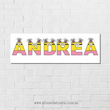 .Minions Personalised name plaque canvas for kids girls wall art - Long…
