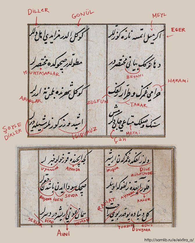"""15th poem of Mehmed the conqueror and how I read the Arabic letters in the copy of manuscript. My translation from Ottoman Turkish: """"1. If beauties were not coquettish, lovers would not fall in..."""
