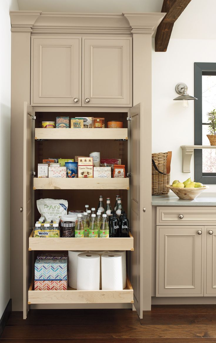 Customize Your Tall Kitchen Pantry With Rollout Trays And Drawers That Fit Your Lifestyle Pa Small Kitchen Pantry Small Kitchen Cabinets Small Pantry Cabinet