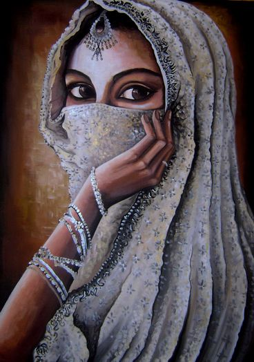 Indian Girl by ShonefluoArt @ deviantART.com. (((#Painting)))))))