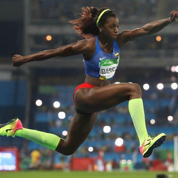 La colombiana Caterine Ibarguen nella finale di salto triplo femminile #Rio2016