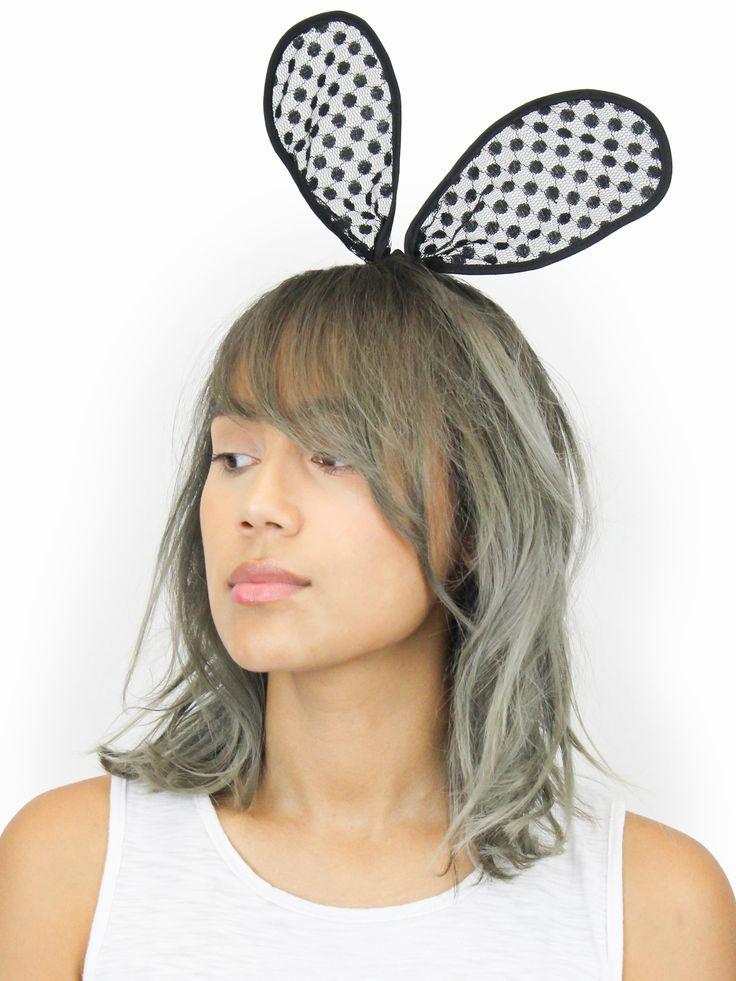 Black Bunny Ear Headband.
