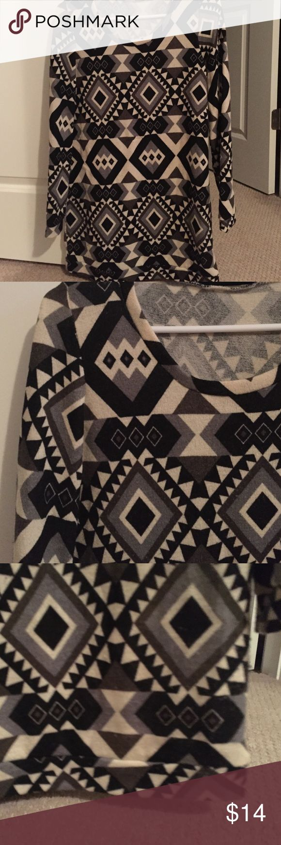 Long sleeve tribal shirt dress Awesome print looks great with leggings Tops
