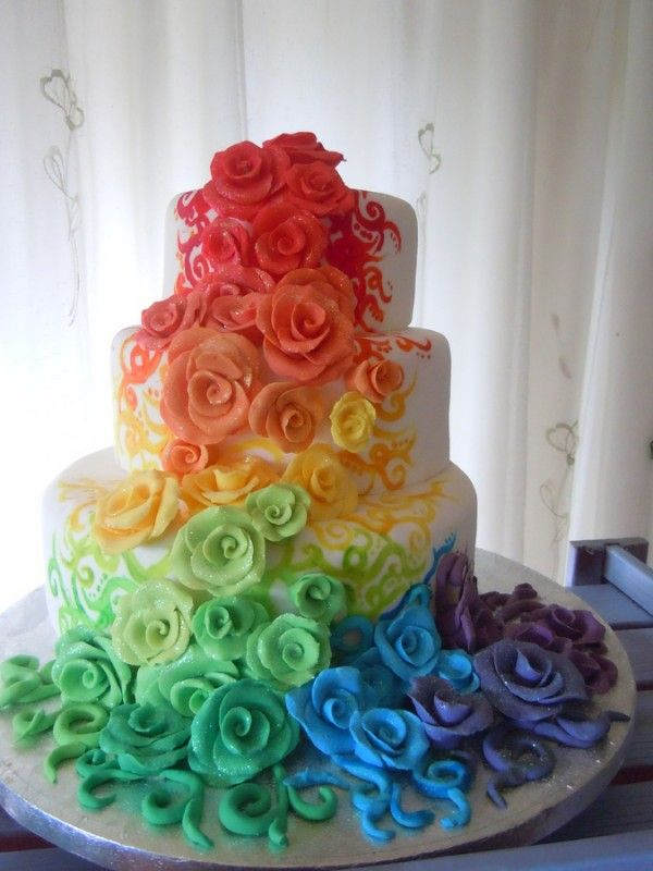 Rainbow Flowers Cake- Wow your guests with a cake of cascading flowers in a rainbow of vibrant hues.