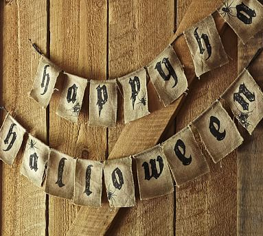 This Happy Halloween Burlap Banner has subtle spiders and spider webs on it. -Jennifer   Happy Halloween Banner #potterybarn, pottery barn indoor decor, happy halloween, halloween decoration, halloween banner,