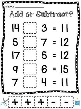 Addition and Subtraction Cut Sort Pastes for kids to choose an operation... great test practice!