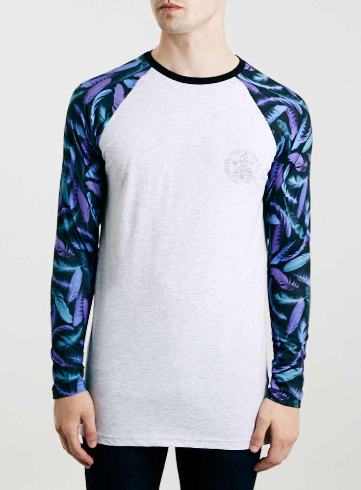 Light Grey Marl Longline Long Sleeve Feather Raglan T-Shirt
