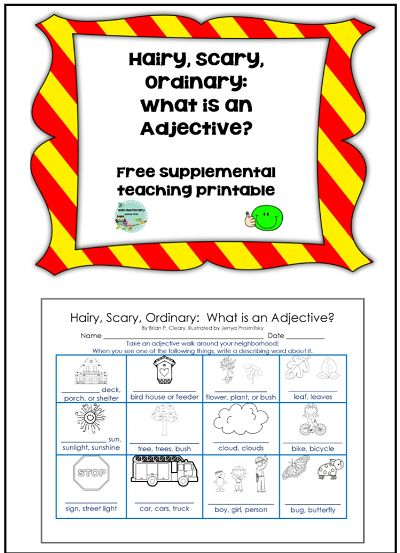 free work page and answer key for adjectives, could use the book HAIRY, SCARY, ORDINARY (or an adjectives lesson), to take on an adjective walk outside
