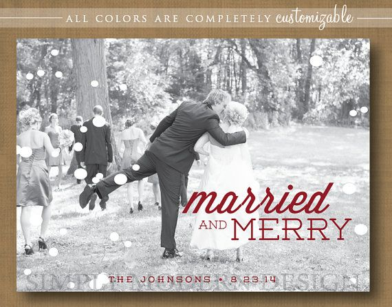 Photo Holiday Christmas Card Married Wedding Thank You Printable